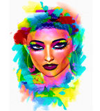 Colorful pop art image of woman`s face with flowers in hair. This is a 3d rendered digital art image of a close up woman`s face in pop art style. A modern Stock Photos