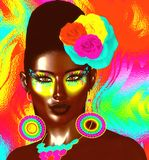 Colorful pop art image of woman`s face with flowers in hair. This is a 3d rendered digital art image of a close up woman`s face in pop art style. A modern Stock Images