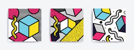 Colorful Pop art set. Colorful Pop art geometric pattern set with bright bold blocks. Colorful Material Design Background in Pink Yellow Blue Black and White Royalty Free Stock Photo