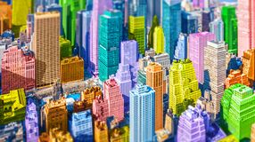 Free Colorful Pop Art Styled Tilt Shift Model Village Style New York City NYC Manhattan Diverse Diversity Royalty Free Stock Image - 160661096
