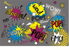 Pop graffiti. Colorful pop graffiti with stars on a grey background Royalty Free Stock Images