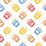 Colorful popcorn bucket seamless pattern. Colorful popcorn bucket. Seamless pattern Royalty Free Stock Images