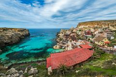 Colorful Popeye Village in Anchor Bay,Malta.  Royalty Free Stock Photo