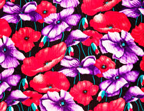 Colorful poppies fabric Royalty Free Stock Image