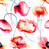 Colorful Poppy flowers, seamless pattern Stock Photos