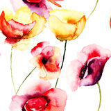 Colorful Poppy flowers, watercolor illustration Royalty Free Stock Photos