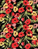 Colorful poppy pattern illustration background. Colorful poppy pattern illustration on black background on black color Royalty Free Stock Images