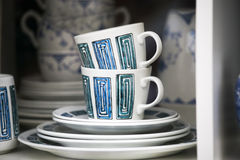 Colorful porcelain cups of 1950-th years. The simple form, glaze stock image