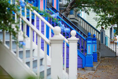 Colorful porches of wooden houses on street of San Francisco, USA Stock Photography