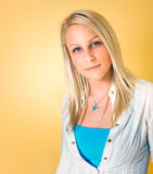 Colorful portait of gorgeous young blonde woman. Stock Images