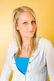 Colorful portait of gorgeous young blonde woman. Stock Photo