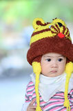 Colorful portrait of cute baby boy dressed in lion custume,looki Stock Images