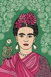 Colorful portrait of Frida Kahlo Royalty Free Stock Images
