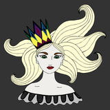 Colorful portrait of girl in a crown with long blond hairs Royalty Free Stock Photos