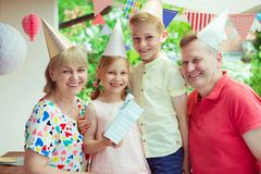 Portrait of happy big family celebrate birthday and grandparents Stock Images