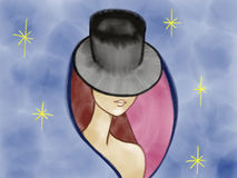 Colorful portrait of a mysterious lady in hat drawn by acrylic color, pencil and watercolor on the pink rose background Royalty Free Stock Photography