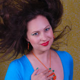 Colorful portrait about woman with flying hair Royalty Free Stock Image