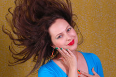 Colorful portrait about woman with flying hair Stock Photography