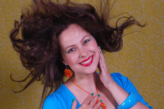 Colorful portrait about woman with flying hair Royalty Free Stock Photography