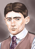 Colorful portrait of a writer Franz Kafka Stock Photo