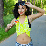 Colorful portrait of young funny fashion girl posing  in summer style outfit Stock Image
