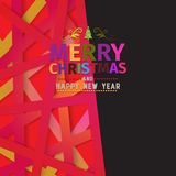 Colorful positive Merry Christmas  greeting card. Made with various colors for each letter. Happy New Year wish greeting. Colorful background . Clean design Royalty Free Stock Image