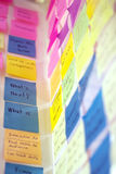 Colorful post it on glass wall. Colorful post it on idea wall Royalty Free Stock Images