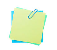 Colorful post-it notes with clip Stock Photography