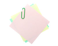 Colorful post-it notes with clip Royalty Free Stock Photography