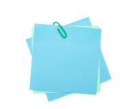 Colorful post-it notes with clip Royalty Free Stock Image