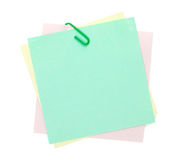 Colorful post-it notes with clip Royalty Free Stock Photo