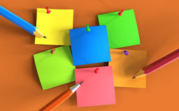 Colorful post it paper notes with pencils and pins. On wall, 3d illustration Royalty Free Stock Photo