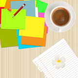 Colorful post it,pencil,paper and coffee cup Stock Images