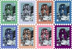Colorful postage stamps with beautiful castle. Stock Photo
