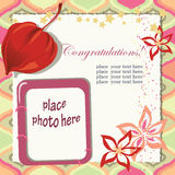 Colorful postcard. Congratulation postcard in a scrapbook stile with a photo frame Stock Images