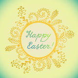 Colorful postcard for Easter with hand drown frame Royalty Free Stock Images