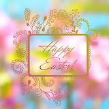 Colorful postcard for Easter with hand drown frame Royalty Free Stock Photos