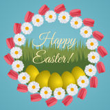 Colorful postcard for Easter with wreath made of tulips and dais Royalty Free Stock Images