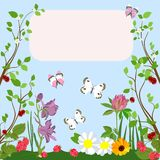 Colorful postcard with spring motive. Vector illustration. Vector greetings card with flowers, butterflies, berries on a blue background. Suitable for covers Stock Photos