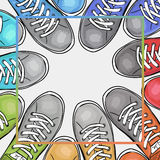 Colorful poster with athletic shoes with place for text black-and-white filter. Advertising sports shoes. Vector Royalty Free Stock Image