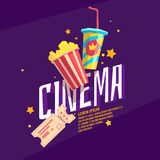 Colorful poster cinema with popcorn, a ticket and a soda. In the glass. Bright vector illustration in cartoon style Stock Photography
