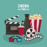 Colorful poster of cinema time with clapperboard megaphone drink 3D glasses popcorn and film reel. Vector illustration Stock Photography
