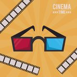 Colorful poster of cinema time with 3D glasses and film tape. Vector illustration Royalty Free Stock Photos