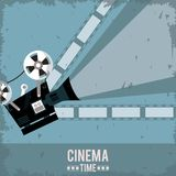 Colorful poster of cinema time with film in background and movie projector. Vector illustration Royalty Free Stock Photo