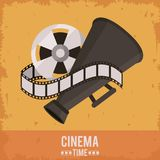 Colorful poster of cinema time with film reel and director megaphone. Vector illustration Royalty Free Stock Photos