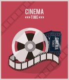 Colorful poster of cinema time with film reel and ticket. Vector illustration stock illustration