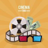 Colorful poster of cinema time with film reel and tickets and 3D glasses. Vector illustration Royalty Free Stock Image