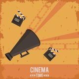 Colorful poster of cinema time with film tape in background and clapperboard and director megaphone. Vector illustration Stock Photography