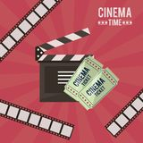 Colorful poster of cinema time with film tape in background and clapperboard and tickets. Vector illustration Royalty Free Stock Image
