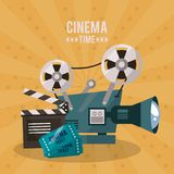 Colorful poster of cinema time with movie film projector and clapperboard and tickets. Vector illustration Stock Images